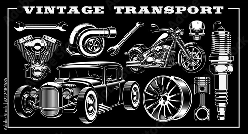 Tablou Canvas Set of vintage transportation