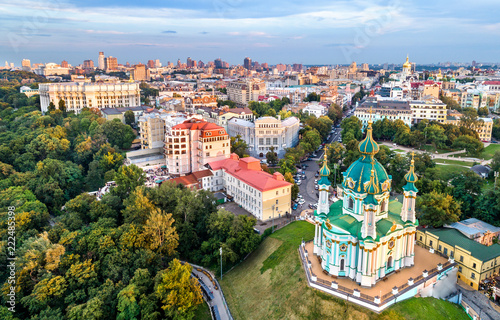 Poster Centraal Europa Aerial view of Saint Andrew church in Kiev, Ukraine