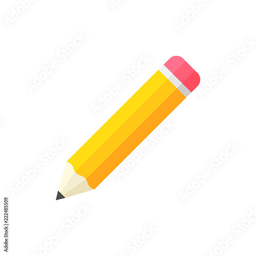 Realistic yellow wooden pencil with rubber eraser icon in flat style Fototapeta