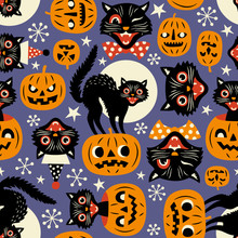 Vintage Spooky Cats And Hallow...