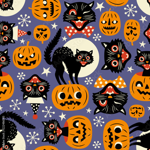 Vintage spooky cats and halloween pumpkins seamless vector pattern on purple background Wallpaper Mural