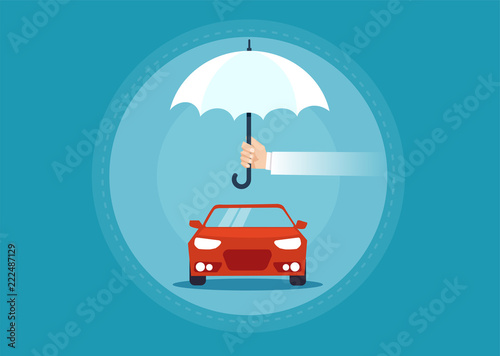 Vector of a car under umbrella as a symbol for insurance