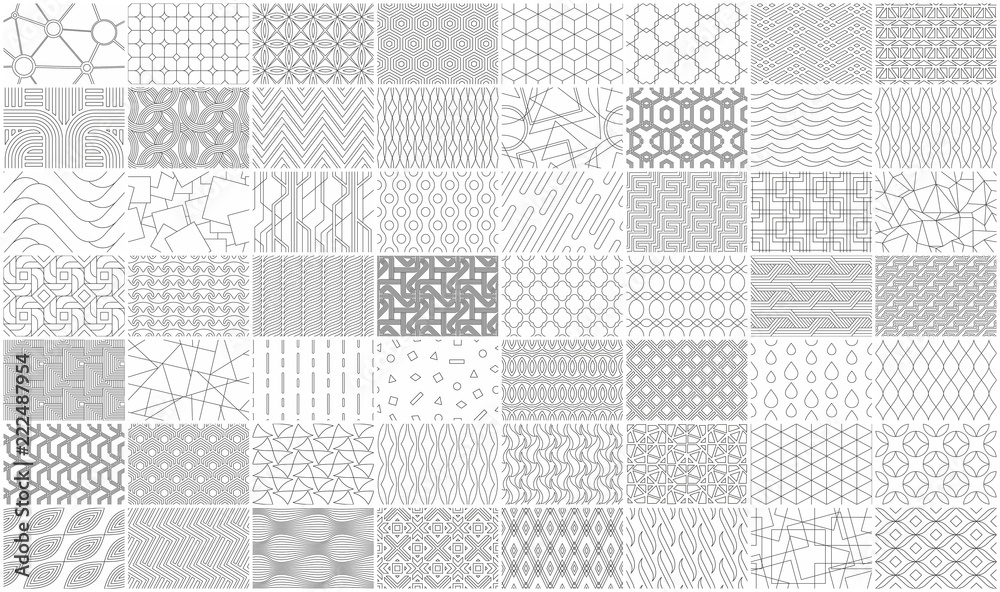 Mega collection of Geometric seamless linear pattern. Isolated on White background