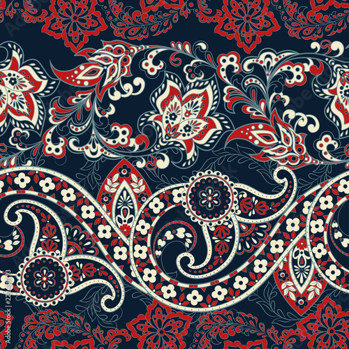 Canvas-taulu Floral seamless paisley pattern