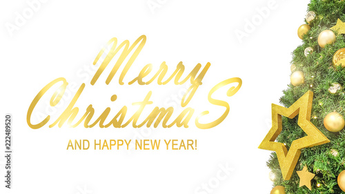 Merry Christmas And Happy New Year 2019 Text With Decorated
