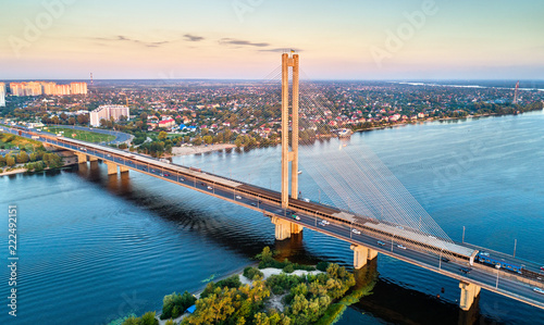 Poster Centraal Europa The Southern Bridge across the Dnieper in Kiev, Ukraine