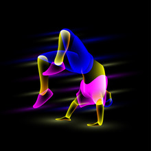 Break Dancer Doing Back Flip. Abstract Neon Transparent Overlay Street Dance Illustration.