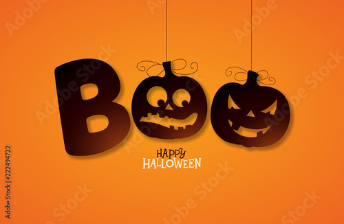 Vászonkép  Boo, Happy Halloween design with typography lettering on orange background
