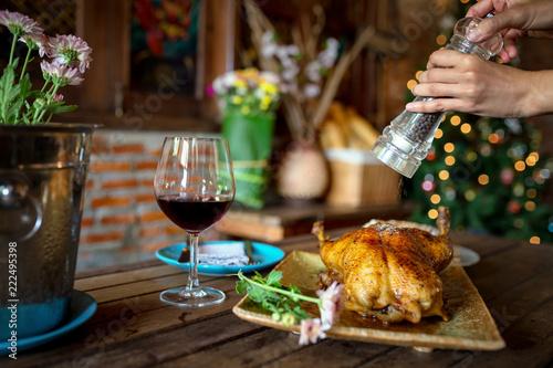 Fotografia Beautiful food Duck roast and wine dinner Christmas eve