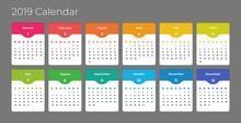 Colorful Year 2019 Calendar Vector Template. Eps 10