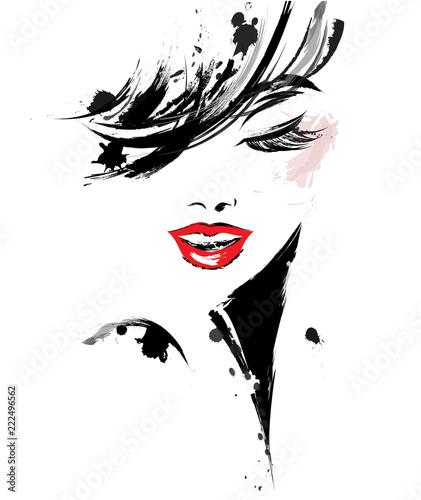 Plakaty do kosmetyczki  beautiful-women-logo-women-face-makeup-on-white-background-vector