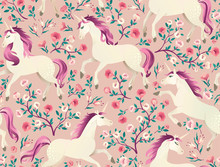 Hand Drawn Vintage Unicorn In Magic Forest Seamless Pattern. Vector Illustration In Victorian Style.