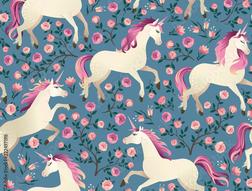 Unicorns on background with a fairy forest. Seamless pattern.