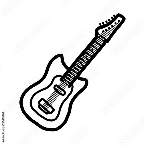 Electric Guitar Cartoon Vector And Illustration Black And White Hand Drawn Sketch Style Isolated On White Background Buy This Stock Vector And Explore Similar Vectors At Adobe Stock Adobe Stock