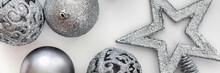 Christmas White Panoramic Background With Silver Baubles And Star