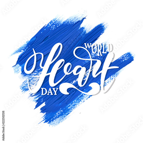 World Heart Day background with hand drawn lettering. Simple creative  design for holiday banner fb95a002451e1