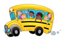 Cartoon School Bus With Happy ...