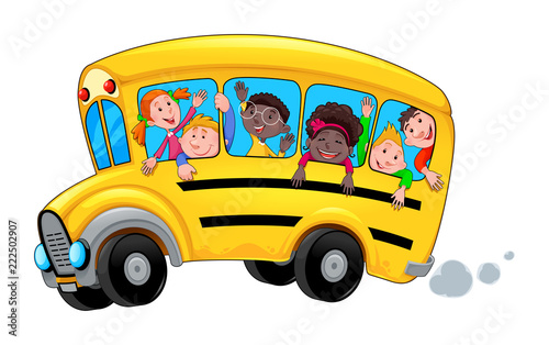 Foto op Plexiglas Kinderkamer Cartoon school bus with happy child students