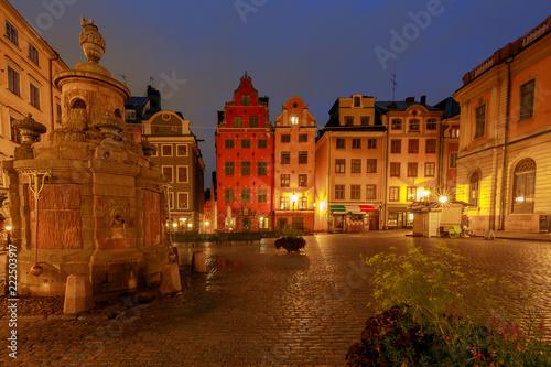 Photo  Stockholm. Square Sturtoret at dawn.