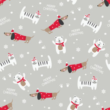 Winter Seamless Pattern With Cute Cats, Dogs And Bears