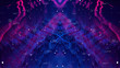 canvas print picture - Glitched Holographic Digital Technology Background. Distorted glitch style modern Design. Abstract Pixel Noise. Psychodelic Symmetry Tron Neon. Blue and Purple, Magenta, Violet.