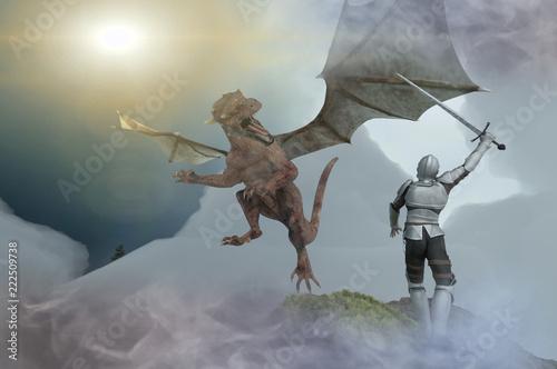Foto auf AluDibond Drachen knight fighting dragon, dragon versus man, 3D render