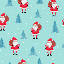 Merry Christmas Seamless Pattern With Watercolor Santa Claus And Christmas Tree.