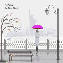Autumn In New York. Girl With Pink Umbrella On The Embankment. Vector.