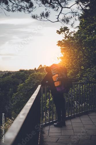 Fotografie, Obraz  wanderer Sonnenuntergang genießen aussicht bastei