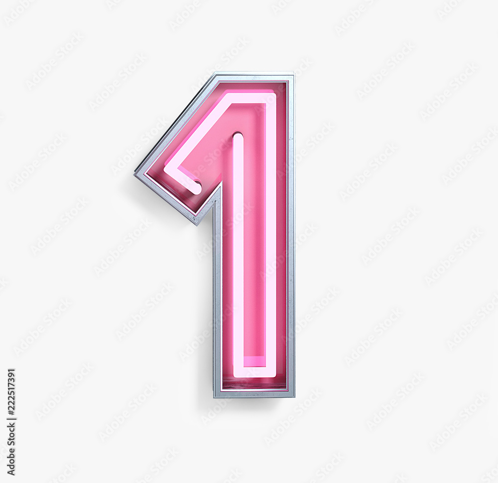 Fototapeta Bright Neon Font with fluorescent pink tubes. Number 1. Night Show Alphabet. 3d Rendering Isolated on White Background.