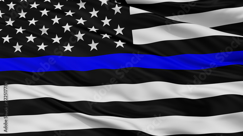 Fotografía  Blue Lives Matter Closeup Flag, 3D Rendering