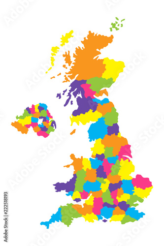 Fotografía  Detailed map of United Kingdom or Great Britain with counties