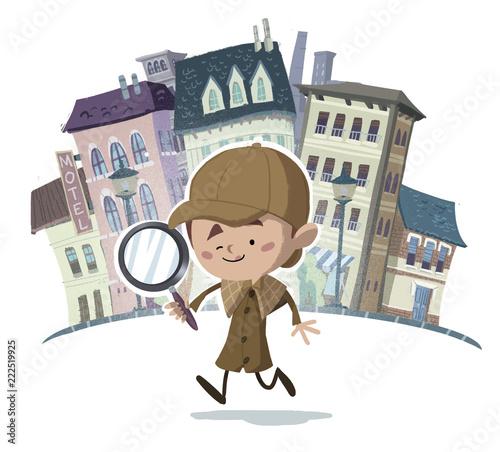 Cuadros en Lienzo niño detective con lupa