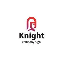 Logo In Modern Style Knight In Helmet, Portrait In Profile