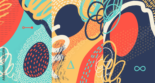 Photo  Creative doodle art header with different shapes and textures