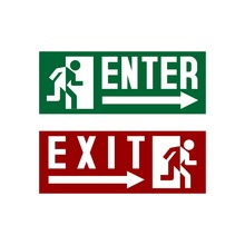Enter Exit Sign Stock Vector