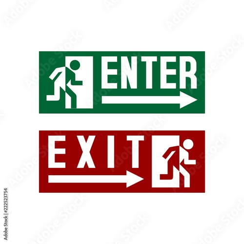 Fotografía Enter Exit Sign Stock Vector