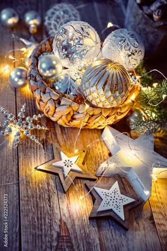 Christmas decoration for tree New year greeting card at old