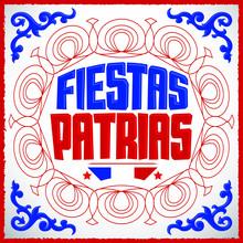 Fiestas Patrias, National Holidays Spanish Text, Chile Theme Patriotic Celebration Banner, Chilean Flag Color