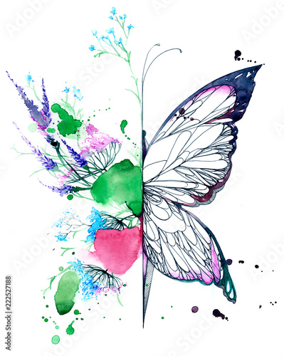 Fotoposter Schilderingen abstract butterfly