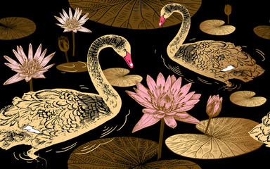 Swans and water lily. Seamless pattern