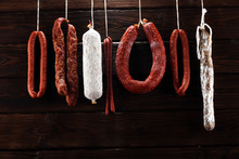 Sausages Hang From A Rack At M...