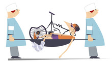 Injured Cyclist, Broken Bike And Two Physicians Illustration. Two Physicians Carry Injured Cyclist With Bandage On Leg, Broken Bike In A Stretcher Isolated On White Illustration