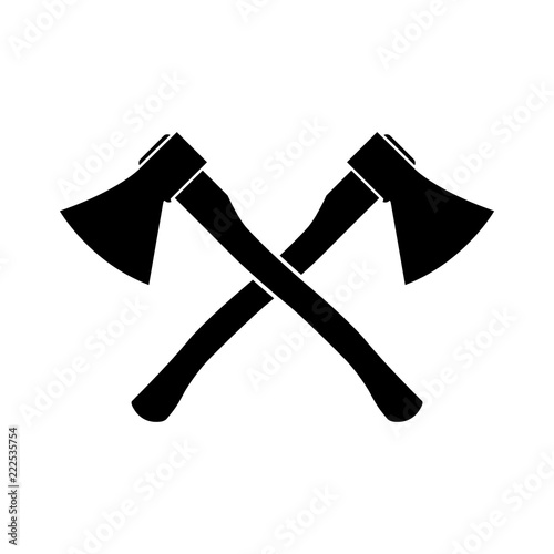 Axe icon, silhouette, logo on white background Canvas Print