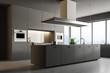 Leinwandbild Motiv Gray modern kitchen interior, island side view