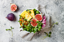 Vegan, Detox Buddha Bowl Recipe With Turmeric Roasted Tofu, Figs, Chickpeas And Greens. Top View, Flat Lay, Copy Space