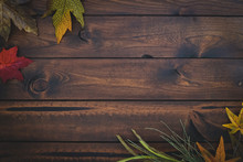 Wooden Blank Background With Fall Foliage