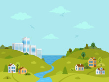 Rural Hilly Landscape With Houses, Buildings, Green Hills, Trees And River. Flat Design, Vector Illustration.