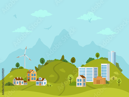 Fotobehang Lichtblauw Rural hilly landscape with houses, buildings, green hills, trees and windmill. Flat design, vector illustration.
