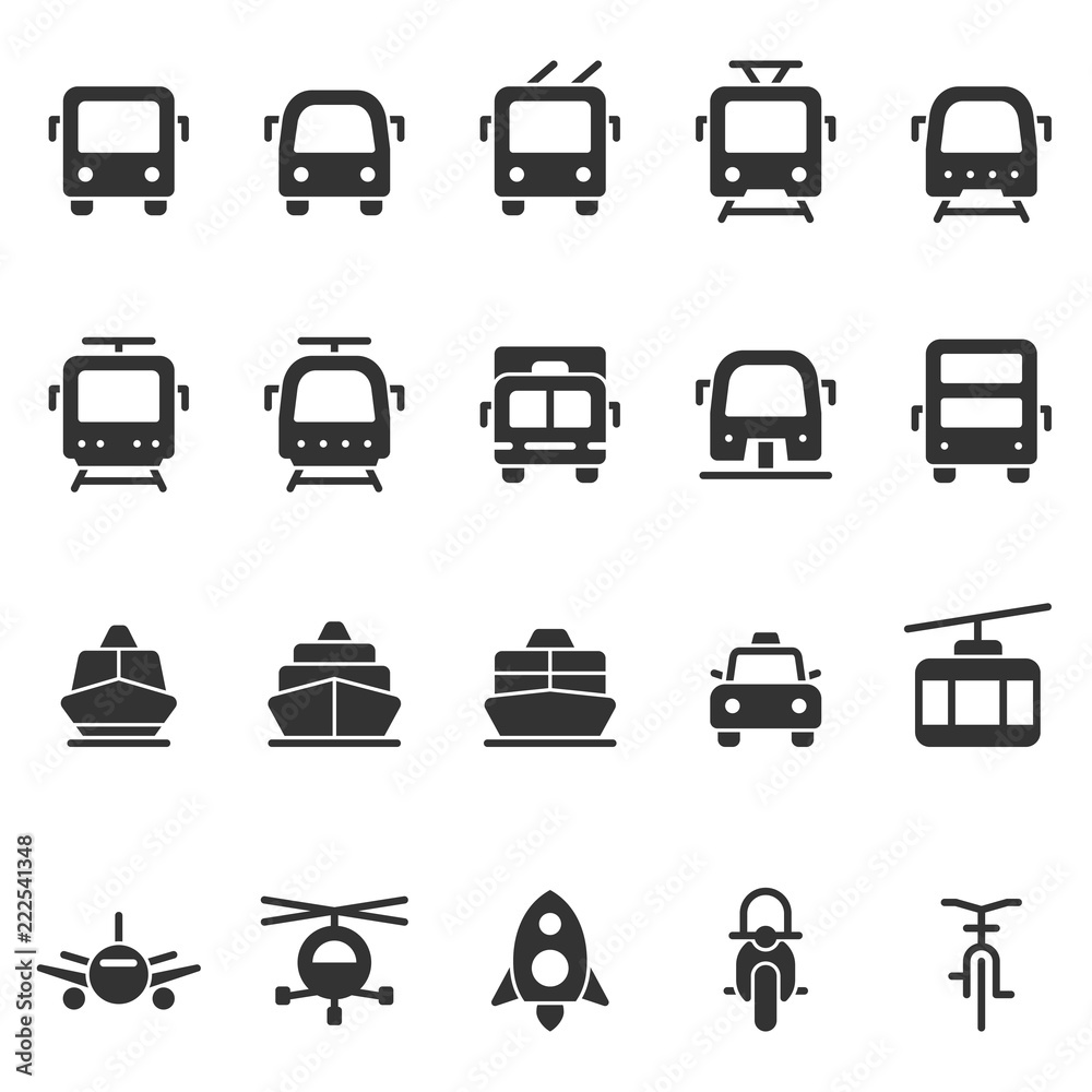 Fotografia, Obraz  Public transport vector shape style icon set